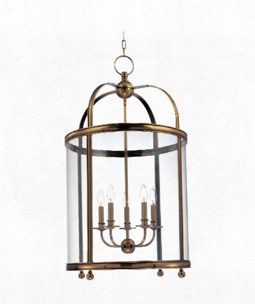 "Larchmont 21"" 5 Light Foyer Pendant In Aged Brass"