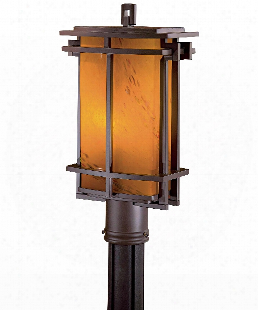"Lugarno Square 9"" 1  Light Outdoor Outdoor Post Lamp In Dorian Bronze"