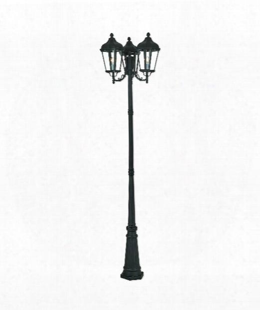 """Morgan 26"""" 3 Light Outdoor Outdoor Post Lamp In Textured Black"""