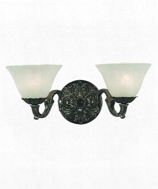"Napoleonic 17"" 2 Light Bath Vanity Light In Antique Silver"