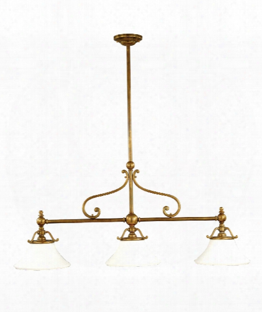 "Orchard Park 50"" 3 Light Island Light In Aged Brass"