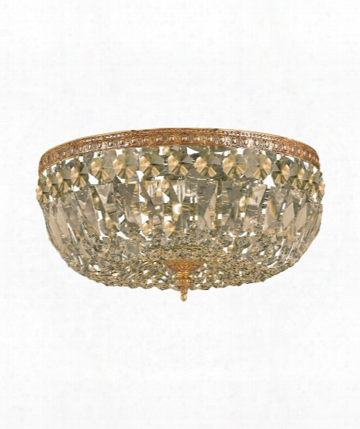"Richmond 14"" 3 Light Flush Mount In Olde Brass"