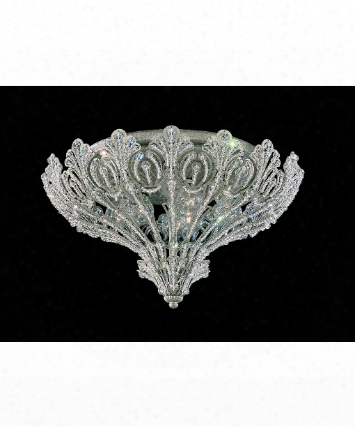 "Rivendell 17"" 9 Light Flush Mount In Antique Silver"