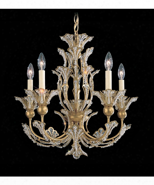 "Rivendell 21"" 5 Light Mini Chandelier In Heirloom Gold"
