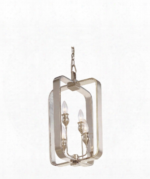 """Rumsford 12"""" 4 Light Foyer Pendant In Polished Nickel"""