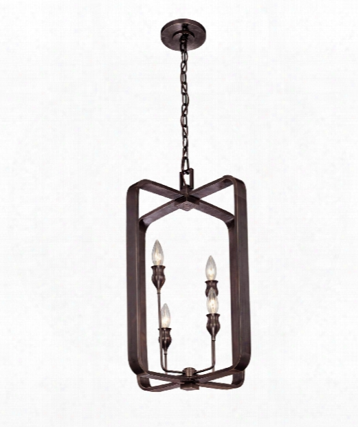 "Rumsford 16"" 4 Light Foyer Pendant In Old Bronze"