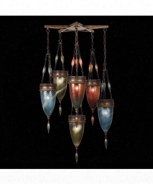 "Scheherazade 32"" 6 Light Multi Pendant Light In Aged Dark Bronze"