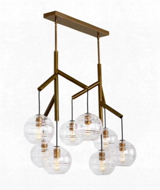 """Sedona 39"""" Led 8 Light Multi Pendant Light In Aged Brass"""