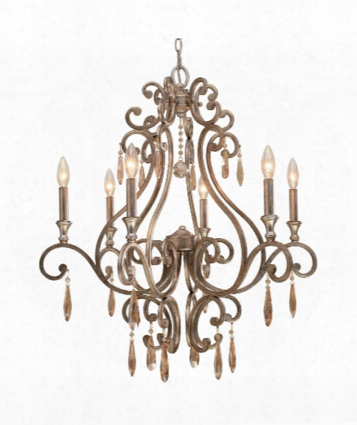 "Shelby 28"" 6 Light Chandelier In Distressed Twilight"