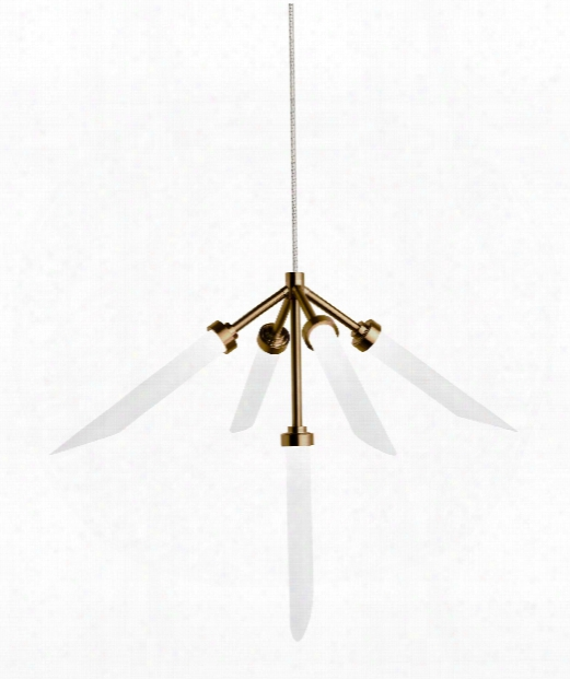 "Spur 37"" Led 5 Light Large Pendant In Aged Brass"