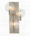 "Gambit 8"" LED 3 Light Wall Sconce in Satin Nickel"