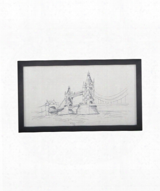 """Tower Bridge 34"""" Painting In Handpainted Clear White And Signature Black"""
