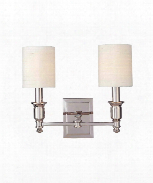 """Whitney 15"""" 2 Light Wall Sconce In Polished Nickel"""