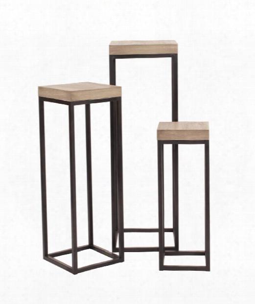 "10"" Accent Table In Graphite Metal-natural Wood Veneer"