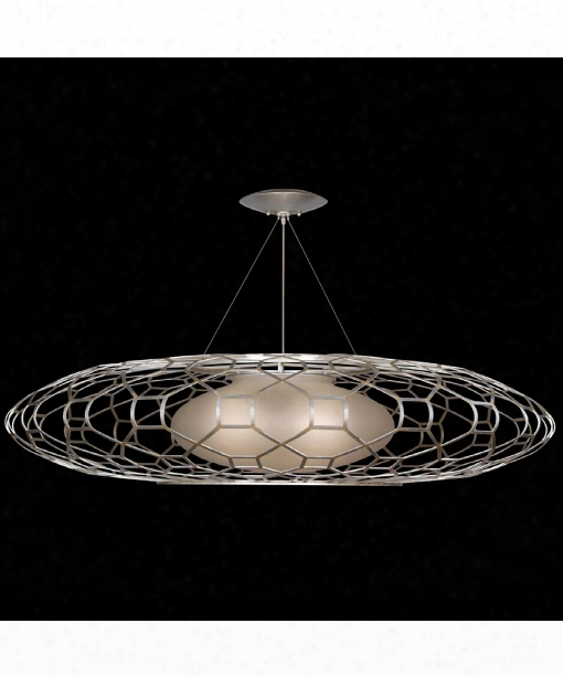 "Allegretto 61"" 3 Light Large Pendant In Platinized Silver Leaf"