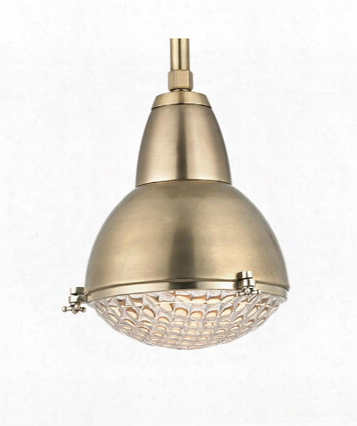 "Belmont 11"" 1 Light Mini Pendant In Aged Brass"