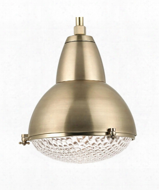 "Belmont 20"" 1 Light Large Pendant In Aged Brass"