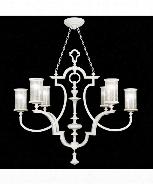"""Black And White Story 59"""" 6 Light Chandelier In White Satin Lacquer"""