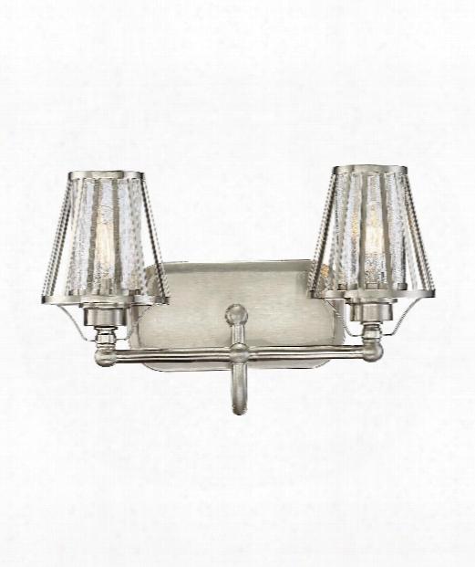 """Caroll 16"""" 2 Light Bath Vanity Light In Satin Nickel"""
