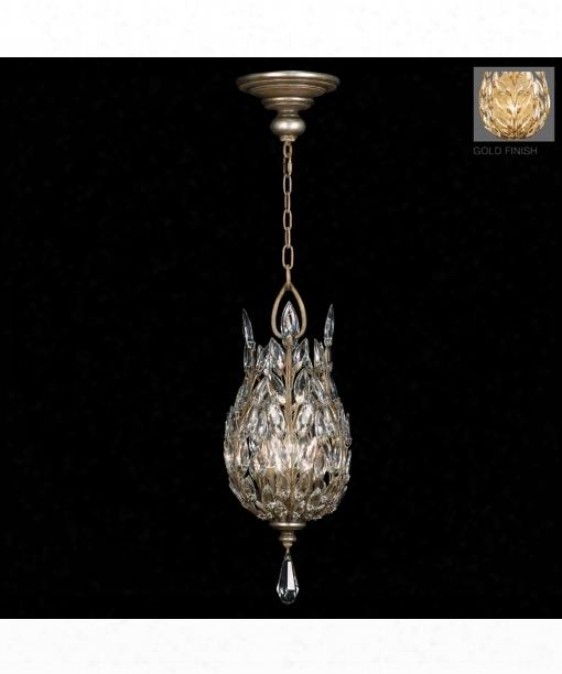 """Crystal Laurel Gold 11"""" 3 Light Foyer Pendant In Antiqued Warm Gold Leaf"""