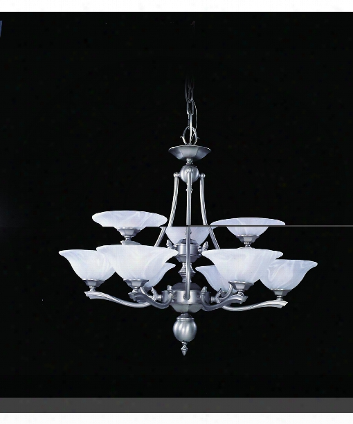 "Fin De Siecle 30"" 9 Light Chandelier In Satin Pewter"