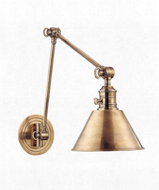 """Garden City 8"""" 1 Light Wall Swing Lamp In Aged Brass"""