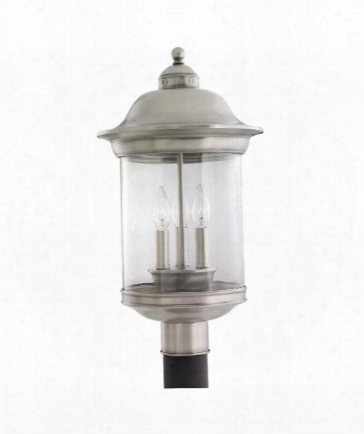 "Hermitage 11"" 3 Light Outdoor Outdoor Post Lamp In Antique Brushed Nickel"