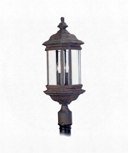 "Hill Gate 10"" 3 Light Outdoor Outdoor Post Lamp In Textured Rust Patina"