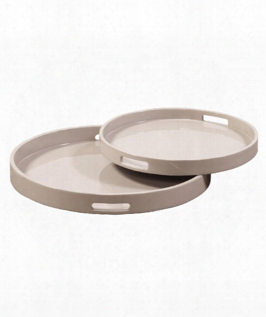 """Lacquer Round 16"""" Tray In Taupe Lacquer"""