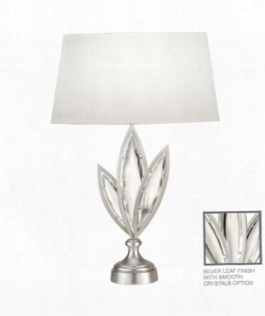 Marquise 1 Light Table Lamp In Platinized Silver Leaf
