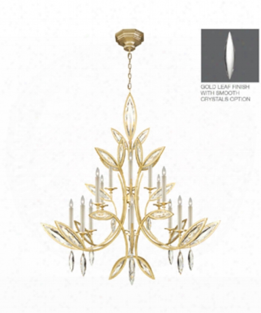 "Marquise 56"" 16 Light Chanelier In Brushed Gold Leaf"