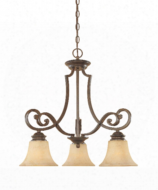 "Mendocino 23"" 3 Light Chandelier In Forged Sienna"