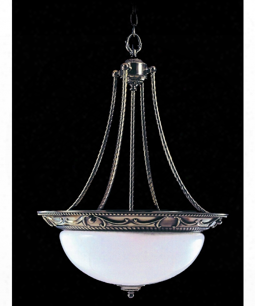 "Napoleonic 20"" 3 Ligt Large Pendant In French Brass"