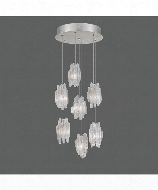 "Natural Inspirations 14"" 7 Light Multi Pendant Light In Platinized Silver Leaf"