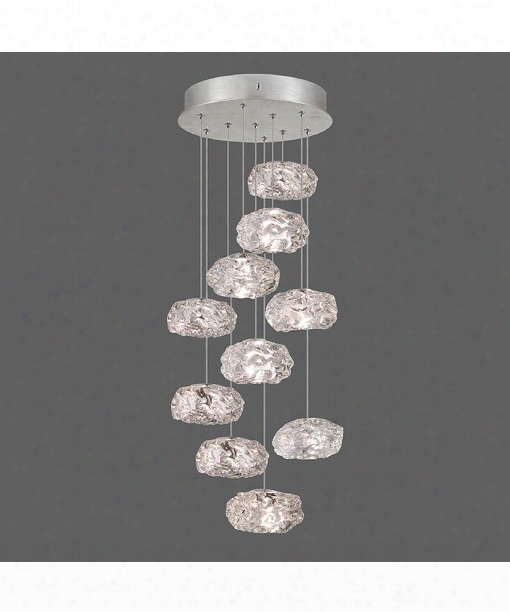 """Natural Inspirations 17"""" 10 Light Large Pendant In Platinized Silver Leaf"""