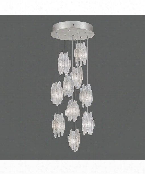 """Natural Inspirations 17"""" 10 Light Multi Pendant Light In Platinized Silver Leaf"""
