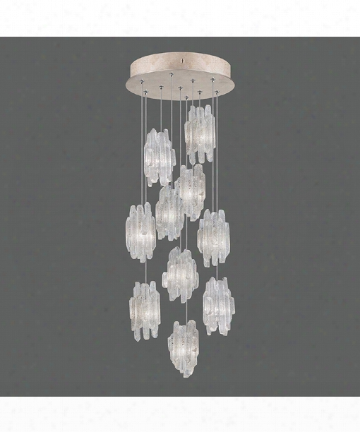 """Natural Inspirations 17"""" 10 Light Multi Pendant Light In Gold-toned Silver Leaf"""