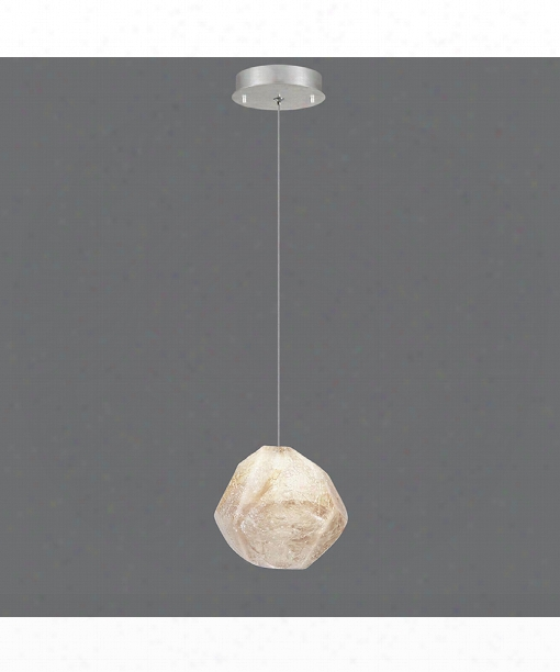 "Natural Inspirations 6"" 1 Light Mini Pendant In Platinized Silver Leaf"