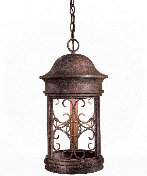 """Sage Ridge 11"""" 1 Light Outdoor Hanging Lantern In Vintage Rust"""