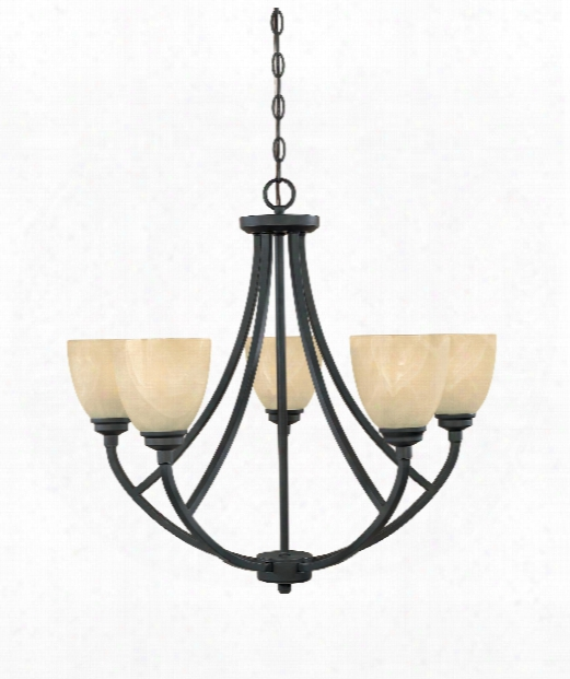 "Tackwood 2"" 5 Light Chandelier In Burnished Bronze"