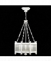 "Black and White Story 25"" 8 Light Foyer Pendant in White Satin Lacquer"