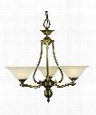 """Fin de Siecle 24"""" 3 Light Chandelier in Polished Brass"""