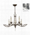 "Marquise 36"" 8 Light Chandelier in Platinized Silver Leaf"