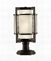"Singapore Moderne Outdoor 14"" 2 Light Outdoor Pier Lamp in Dark Bronze Patina"