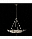 "Vol de Cristal 39"" 3 Light Large Pendant in Platinized Silver Leaf"
