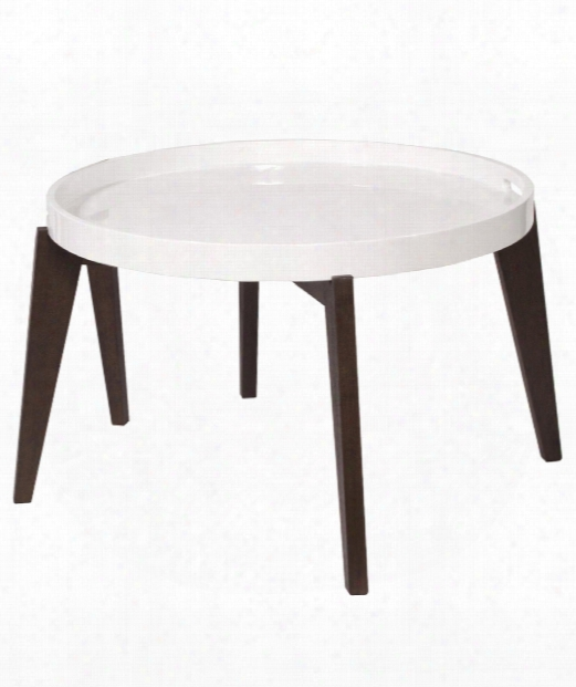 "Trays 28"" Coffee Table In Wenge Brown-glossy White"