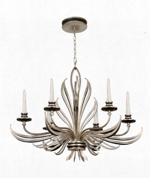 "Villandry 36"" 6 Light Chandelier In Antique Silver Leaf"