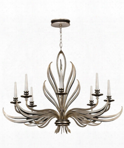 "Villandry 45"" 8 Light Chandelier In Antique Silver Leaf"