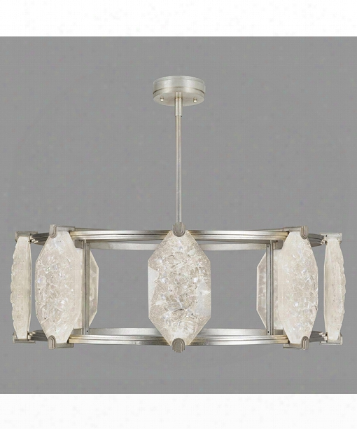 "Allison Paladino 42"" Led 16 Light Large Pendant In Platinized Silver Leaf"
