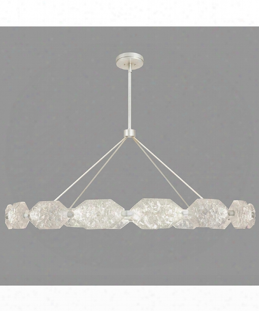 "Allison Paladino 74"" Led 32 Light Large Pendant In Platinized Gentle Leaf"